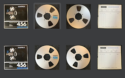 """Ampex 456 10.5"""" Reel with 1/4"""" Magnetic Recording Tape w/ Storage Box Pair"""