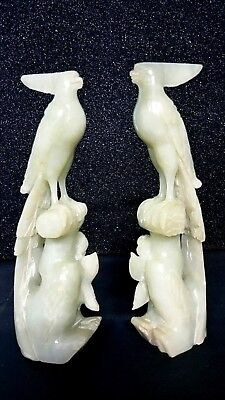 Elaborate Pair Old Chinese Bowenite Carvings of Birds