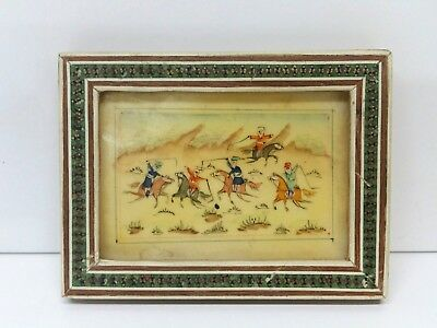 Vintage Khatam Marquetry Inlaid Frame W/ Middle East Miniature Hand Painting