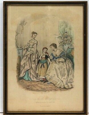 La Mode Illustree Antique Victorian Ladies Art Print Framed