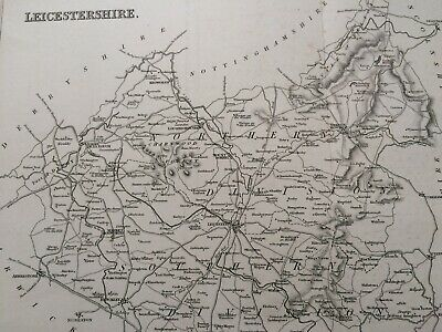 1845 Leicestershire Original Antique Engraved Map UK County Vintage England