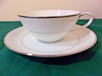 NORITAKE CHINA FLAT CUP & SAUCER Derry Pattern #5931 -- Excellent Condition
