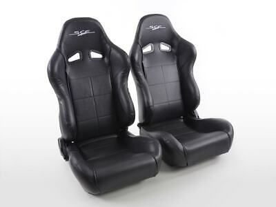 Pair Front Car Sports Seats CE-Sportive 2 artificial leather black VW Audi Seat