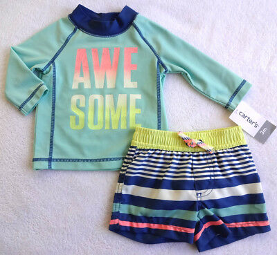 e190989162 CARTERS CRAB BABY Boys Rashguard Swim Trunks Swimsuit Outfit Set 6 ...