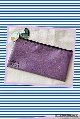 NWT Glitter Makeup Bag Pencil Pouch Case Pink Purple Back to School
