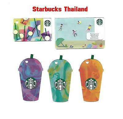 Starbucks Card 2017 THAILAND Asia Frappuccino Summer Keychain Set of 5