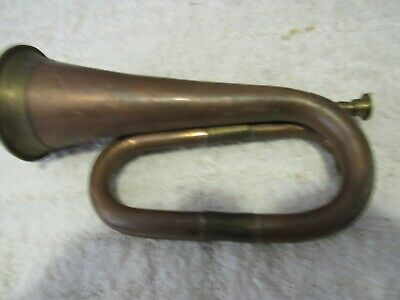 Vintage Brass/Copper Foreign Middle East Manufactured Double Coil Military Bugle