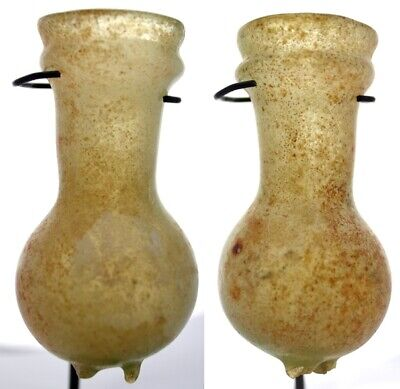FORVM Roman Small Glass Pinched Foot Bottle Eastern Med 3rd Century AD