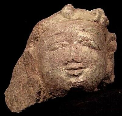 FORVM India 9.5 cm Stone Head of a Bodhisattva c. 10th Century AD