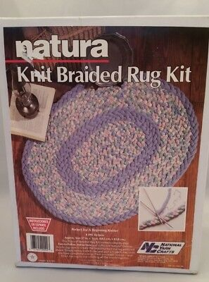 National Yarn Crafts Vintage Natura Knit Braided Rug Kit K095 Victoria Blue Pink