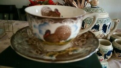 Maruta Ware Cup and Saucer Wild Turkey Blue Sky - Made in Japan - Great Conditio