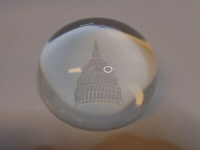 Vintage Crystal Paperweight The Capitol Washington DC Etched NO CHIPS/SCRATCHES