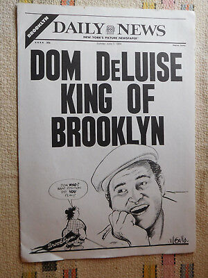 50e0fa865 Vtg NY Daily News Insert Brooklyn Dodgers Bill Gallo Dom DeLuise Who s a Bum