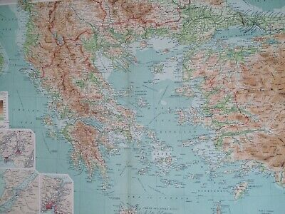 1922 Greece and the Aegean Large Original Antique Map Athens Chanak Greek Island