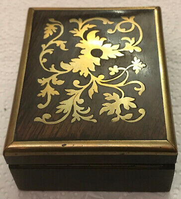 Antique Walnut And Brass Inlay Boulle Work Victorian Pocket Watch display case