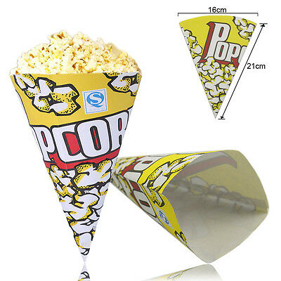 100x Cinema Container Popcorn Paper Bags Kids Party Birthday 16 x 21cm