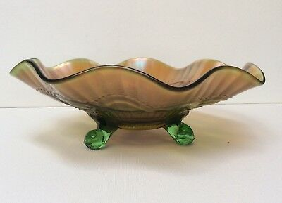 Northwood Beaded Cable Stippled Rays Green Carnival Glass Bowl EAPG