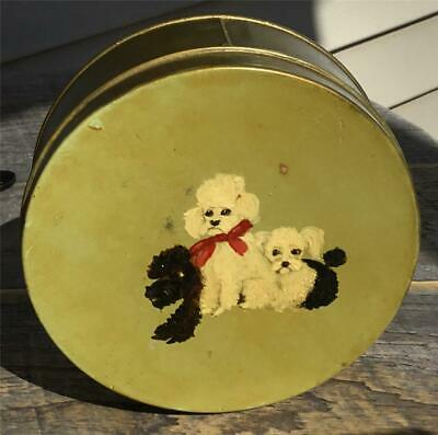 Sweet Vtg Antique Hand Painted Poodle Family Round Tin Metal Container Blk/White