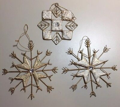 Pier 1 Imports Gold Rhinestone Snowflakes Lot Of 3