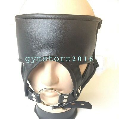 Adjustable Faux Leather belt O ring Open Mouth Gag Head Harness Slave Mask New