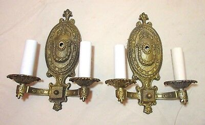 pair of 2 antique ornate solid 2 arm brass bronze electric wall sconces fixtures