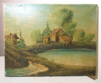 antique original oil painting Folk Art landscape pond home on canvas Taverna