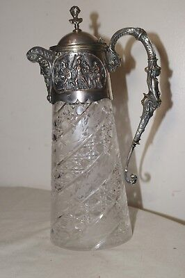 antique 1800's JOHN GRINSELL & SONS silver plate crystal figural claret pitcher