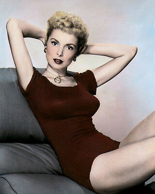 "JANET LEIGH HOLLYWOOD ACTRESS MOVIE STAR red 8x10"" HAND COLOR TINTED PHOTOGRAPH"