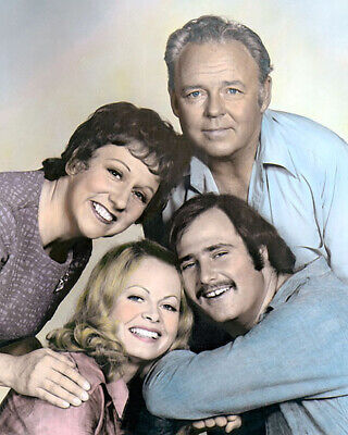 """CAST of ALL IN THE FAMILY TELEVISION 1970s 8x10"""" HAND COLOR TINTED PHOTOGRAPH"""