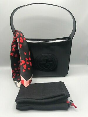 29c9ee527 100% Authentic GUCCI Interlocking GG Black Patent Leather Shoulder Bag
