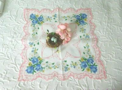 COTTAGE CHIC Vintage Hanky TULIPS, DAISIES, POPPIES Pink FLORAL Double Scallop
