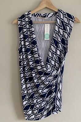 bb39039d278107 Stitch Fix 41 Hawthorn Montgomery Cross Front Wrap Top in Blue Size Small  NWT