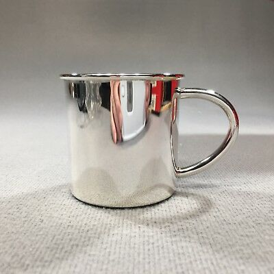 Vintage Cunill Barcelona 1916 Silver Plated Plain Baby Cup - Petite