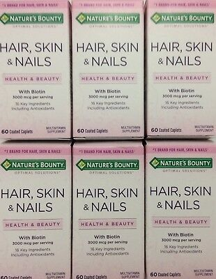 **New** 360 Nature's Bounty Optimal Solutions Hair Skin Nail W/Biotins Exp 2020
