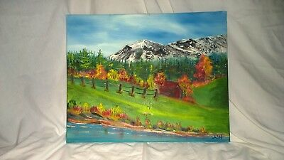 "fine art Original 16X20 acrylic painting signed by Terry Lash ""Little Red Cabin"""