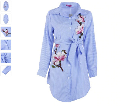 Beautiful Blue & White Stripe Shirt With Flower Embroidery  - Size 10-12(M)