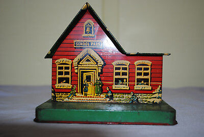 U.S. Metal Toy Co. Tin School House P.S.23 Bank