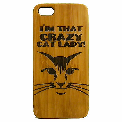 Crazy Cat Lady Case for iPhone 7 Plus Bamboo Wood Cover Kitty Present Feline