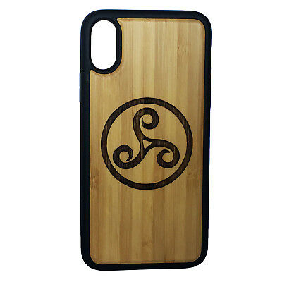Triskele Symbol Case made for iPhone X phone Bamboo Wood Cover+TPU Wrapped Edges