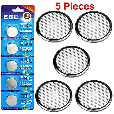 5x CR2025 EBL Lithium 3V Fresh Button Cell Batteries-100% New Sealed Retail Pack