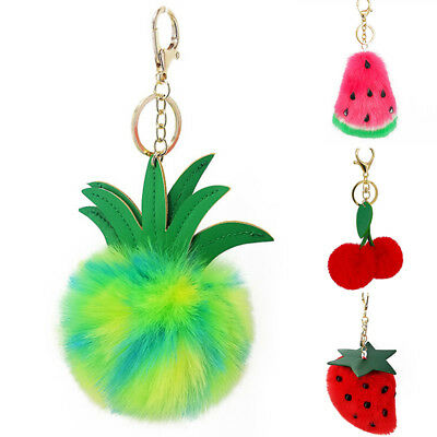 Fluffy Faux Pompom Pineapple Ball Key Chain Ring Bag Car Pendant Keyring new