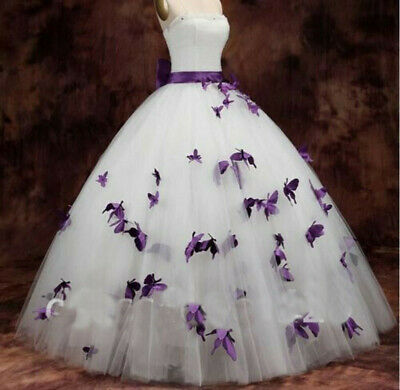 White/Purple Butterflies A-Line Wedding Dresses Prom Party Pageant Ball Gown