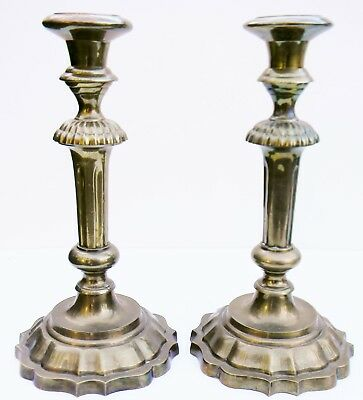 Vintage HEAVY Pair BRASS Colonial Candlestick Candle Holders Round Base SABBATH