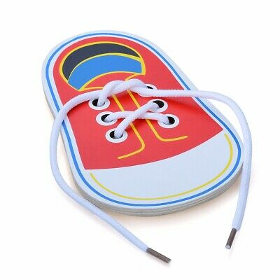 Kid Wooden Lacing Shoe Learn to Tie Laces Threading Educational Motor Skill Toy