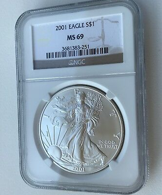 2001 Silver American Eagle NGC MS-69 BU Brilliant Uncirculated   x83-251