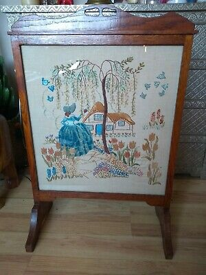 Vintage Oak Art Deco Firescreen Crinoline Lady Embroidery