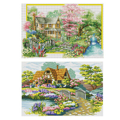 2 Sets Stamped Cross Stitch Kit Spring Landscape Embroidery Material Package