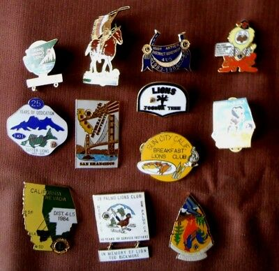 VTG Collection Lot of 12 1980's LIONS CLUB International Convention Lapel PINS