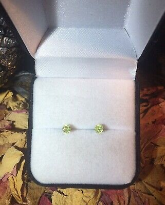 Cute rare natural Yellow Green Sphene 3mm sterling silver claw stud earrings ✨