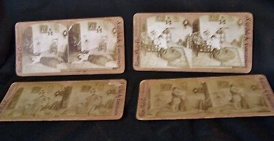 4 Antique Stereoscope Scope Viewer View Photo Cards Victorian FUNERAL Mourning